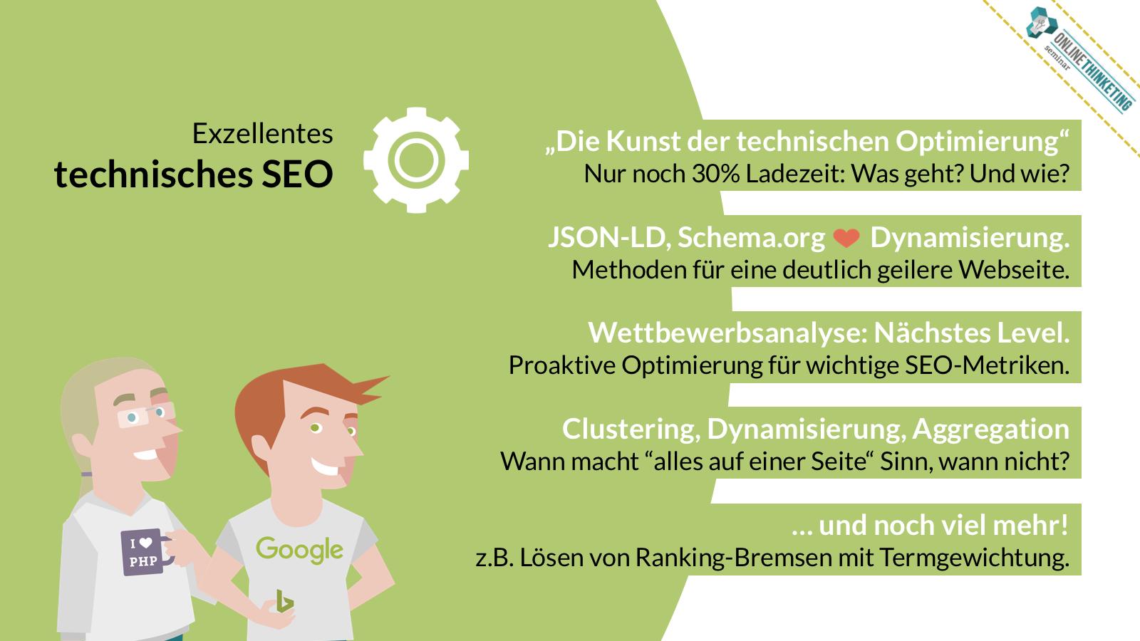 Onlinethinketing Online Marketing Seminar: Exzellentes technisches SEO und smarte digitale Inhalte.